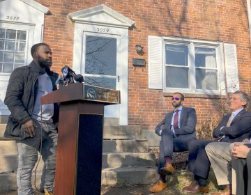Jarell Hawkins talks about the success he's found as a former inmate learning how to renovate homes with 2 Fish Home Renovations. The company was one of six to get part of $1 million in state funding to do more housing work. (Mark Eichmann/WHYY)