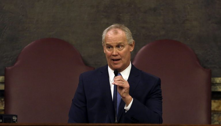 House Speaker Mike Turzai, R-Allegheny, addresses the House chamber after taking the oath of office Tuesday Jan. 1, 2019 in Harrisburg. (Jacqueline Larma/AP Photo)