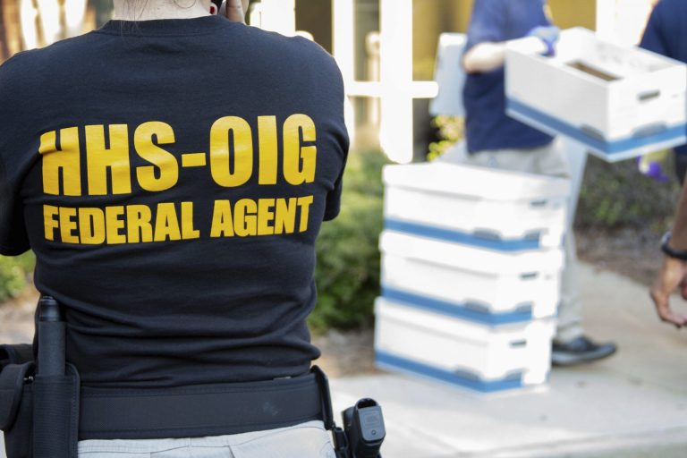In this photo provided by the Department of Health and Human Services Office of the Inspector General, federal agents from the HHS Office of Inspector General prepare for operations in the Atlanta region Friday, Sept. 27, 2019. (Department of Health and Human Services Office of the Inspector General / via AP)