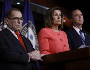 House Speaker Nancy Pelosi of Calif., speaks during a news conference to announce impeachment managers on Capitol Hill in Washington, Wednesday, Jan. 15, 2020. Pelosi is joined by impeachment managers, House Intelligence Committee Chairman Adam Schiff, D-Calif., right, and House Judiciary Committee, Rep. Jerrold Nadler, D-N.Y., left. (AP Photo/Matt Rourke)