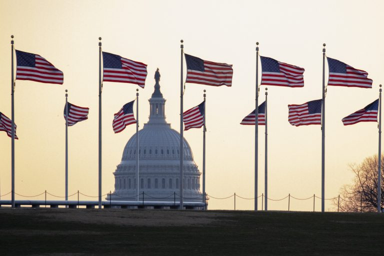 The U.S. Capitol at sunrise on Monday, Jan. 20, 2020, in Washington. (AP Photo/Jon Elswick)