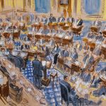 This drawing by Dana Verkouteren shows White House counsel Pat Cipollone delivering opening remarks in the Senate chamber during the first day of the impeachment trial against President Donald Trump on charges of abuse of power and obstruction of Congress, at the Capitol in Washington, Tuesday, Jan. 21, 2020. (J. Scott Applewhite/AP Photo)