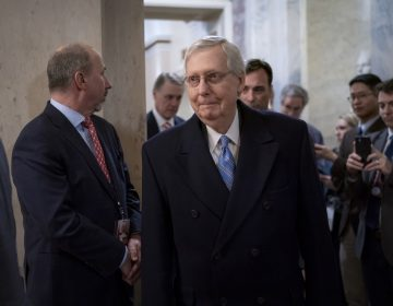 Senate Majority Leader Mitch McConnell, R-Ky., departs the Capitol as the Senate finishes its work for the day in the impeachment trial of President Donald Trump on charges of abuse of power and obstruction of Congress, in Washington, Friday, Jan. 24, 2020. (AP Photo/J. Scott Applewhite)
