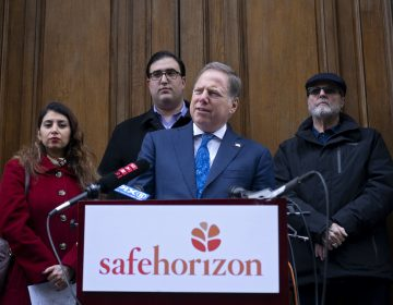 U.S. Attorney Geoffrey Berman, standing with victims of childhood sexual abuse, speaks at an event held by Safe Horizon, a non-profit victim services agency, in front of Jeffrey Epstein's Manhattan residence as they raise awareness for New York State's Child Services Act,  Monday, Jan. 27, 2020, in New York. (Craig Ruttle/AP Photo)