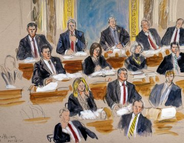 This drawing by court artist Dana Verkouteren depicts the Republican side of the Senate during defense arguments in the impeachment trial of President Donald Trump on charges of abuse of power and obstruction of Congress, at the Capitol in Washington, Tuesday, Jan. 28, 2020.  (AP/Dana Verkouteren)