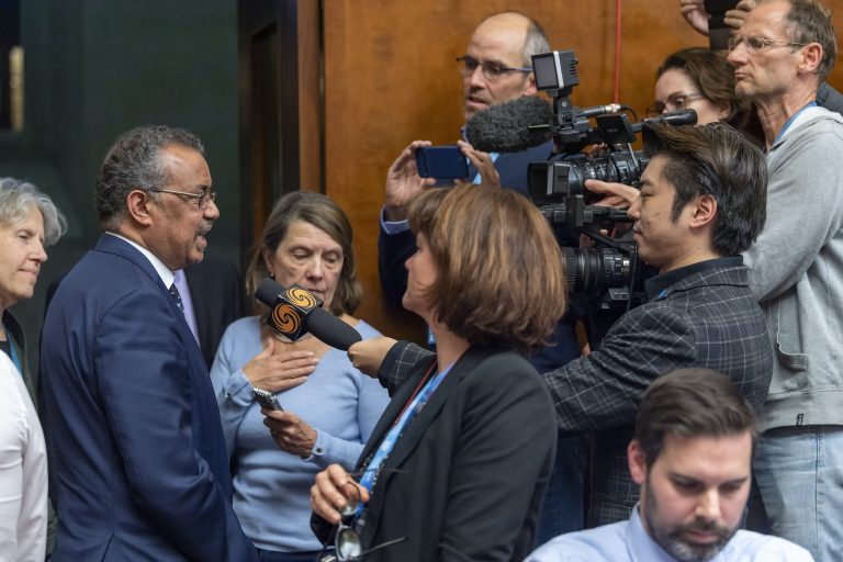 Tedros Adhanom Ghebreyesus, director general of the World Health Organization (WHO), speaks to the media about the Situation regarding the new Coronavirus, during a press conference at the European headquarters of the United Nations in Geneva, Switzerland, Wednesday, Jan. 29, 2020. (Martial Trezzini/Keystone via AP)