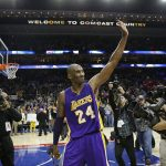 Los Angeles Lakers' Kobe Bryant in action during an NBA basketball game against the Philadelphia 76ers, Tuesday, Dec. 1, 2015, in Philadelphia. (AP Photo/Matt Slocum)