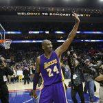 Los Angeles Lakers' Kobe Bryant in action during an NBA basketball game against the Philadelphia 76ers, Tuesday, Dec. 1, 2015, in Philadelphia. (AP Photo/Matt Slocum)