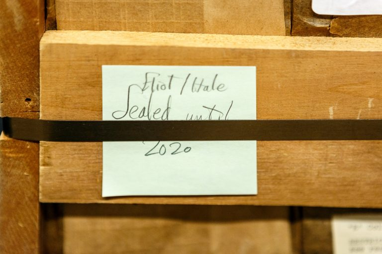 The crate pictured housed the collection for over 60 years and held a post-it note that read, 'Eliot/Hale, sealed until 2020.' (Shelley Szwast/courtesy of Princeton University Library)