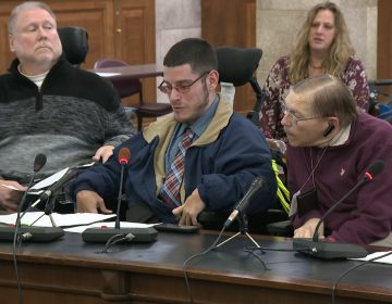 Steve Gruzlovic (center) of the Statewide Independent Living Council testified Thursday. (NJTV News)