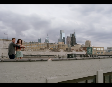 Jason Segal and co-star Eve Lindley on the roof of 1235 Spring Garden Street. AMC / YOUTUBE SCREENSHOT