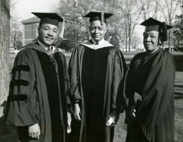 Dr. Martin Luther King Jr., (left) poses with Spelman President Albert Manley and Spelman Alumna and mother of Dr. King, Alberta Williams King, on Founders Day at Spelman College, April 10, 1960. (Courtesy of the Spelman College Archives)