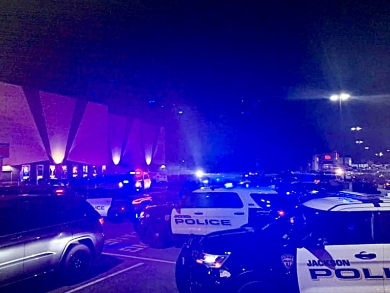 Police converge on a Howell movie theatre Wednesday evening after fireworks lit outside caused panic inside the building. (Image courtesy of Kelsey Disher via JSHN)
