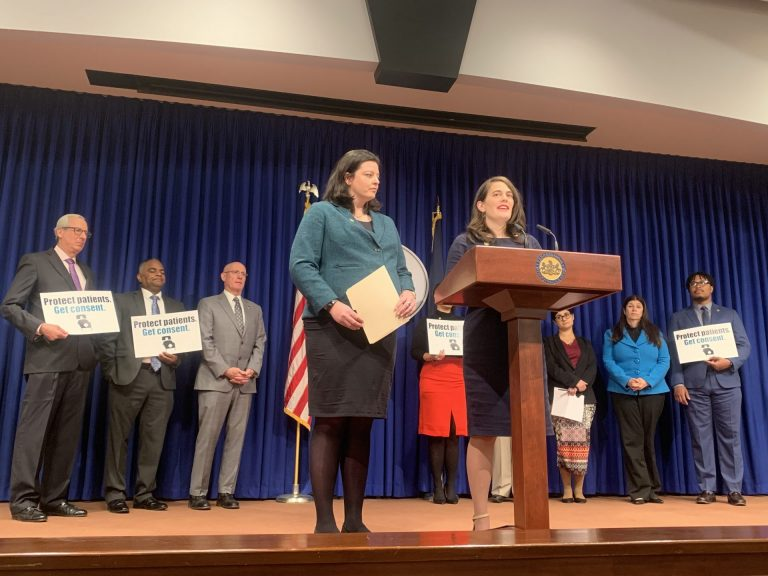 Democratic Representatives Liz Hanbidge and Elizabeth Fiedler, of Montgomery County and Philadelphia, respectively, speak in support of their joint bill. (Katie Meyer/WITF)