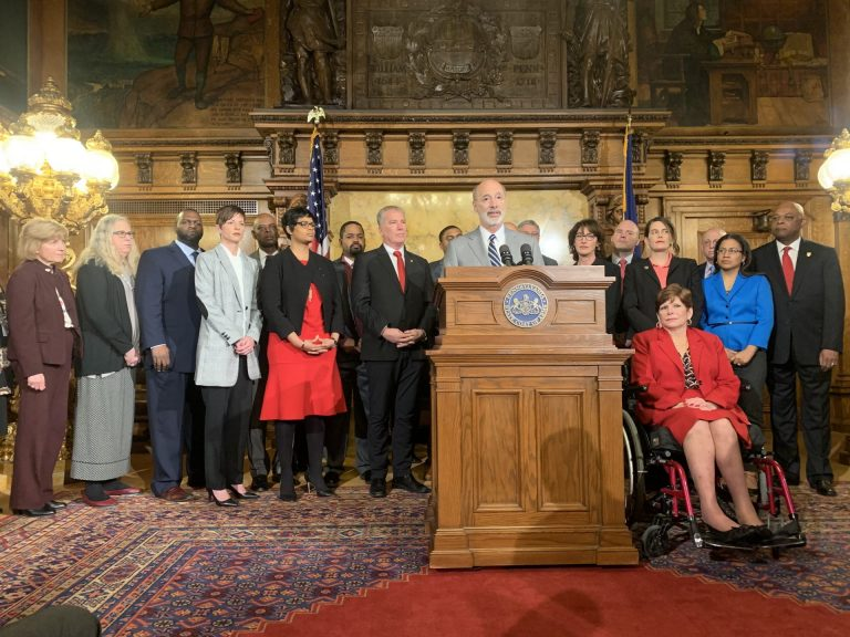 Wolf, Democratic lawmakers and state secretaries gather to call for toxin abatement funding. (Katie Meyer/WITF)