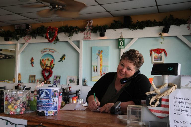 Jackie Mikulski, owner of Key West Cafe, looks forward to the having a sitting president visit Wildwood and the business boost it will bring. (Ximena Conde/WHYY)