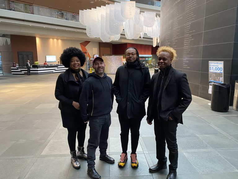The Kimmel Center's 19/20 Season Jazz Residents: (L-R) Ruth Naomi Floyd (vocalist composer), Jay Wahl (producing artistic director of the Kimmel Center), Immanuel Wilkins (saxophonist and composer), Richard Hill (bassist and composer) (Courtesy of Kimmel Center)