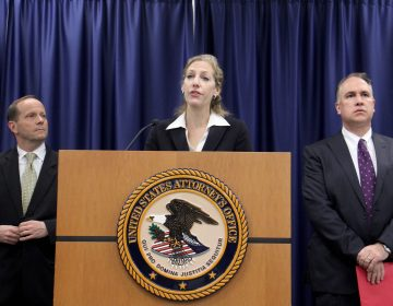 Jennifer A. Williams, first assistant US attorney for the Eastern District of Pennsylvania, announces corruption indictments against Philadelphia City Councilman Kenyatta Johnson and his wife. (Emma Lee/WHYY)
