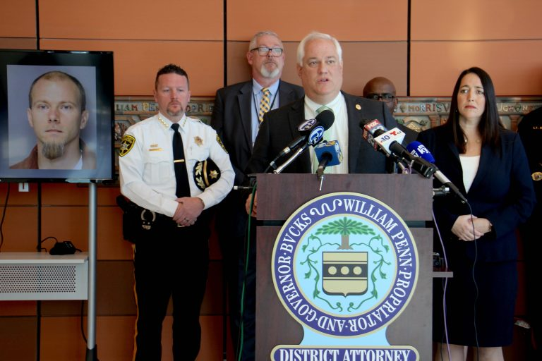Bucks County District Attorney Matt Weintraub announces that Daman Smoot has admitted to the murder of Adam Brundage, closing a 16-year-old cold case. (Emma Lee/WHYY)