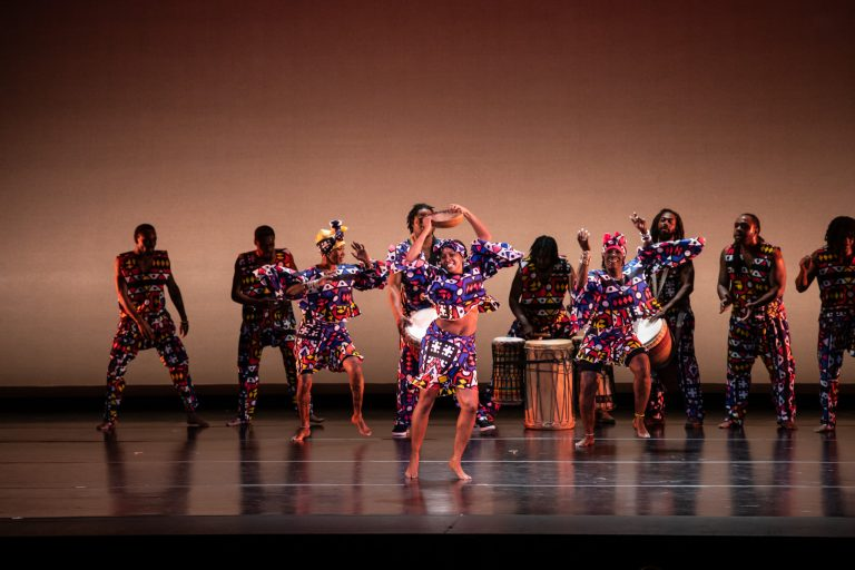 Kulu Mele African Dance and Drum Ensemble at the 32nd Annual International Conference and Festival of Blacks in Dance in Philadelphia. (Scott Robbins)