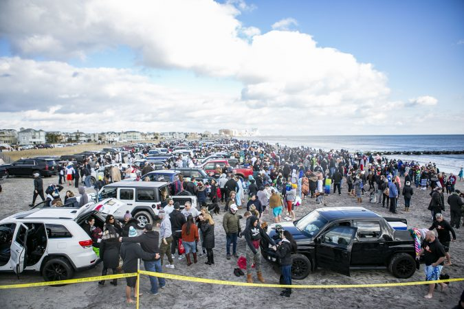 Crowd gathers before the 2020 polar bear plunge in Margate, NJ on Wednesday, January 1, 2020. (Miguel Martinez for WHYY)