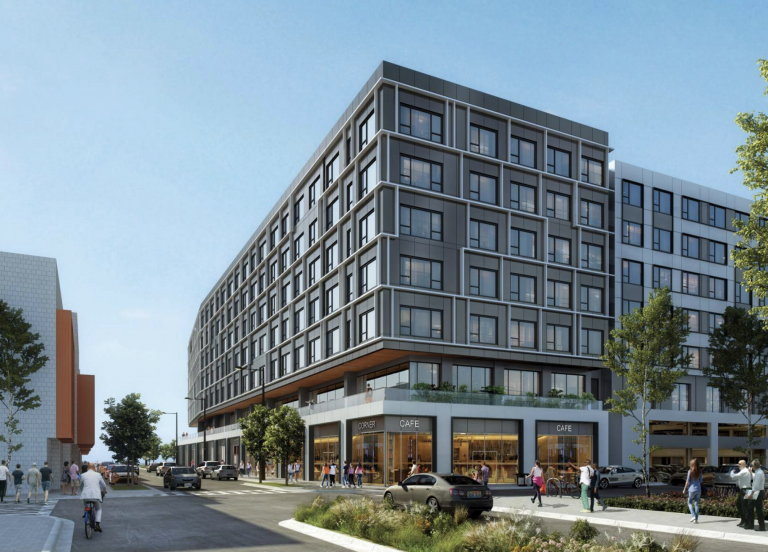 A rendering shows the view of a planned residential and retail complex at 1401 S. Columbus Blvd. from Washington Avenue. (Courtesy of BLT Architects)