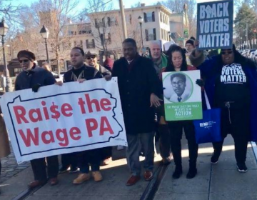 Germantown-area residents and political leaders marched on Monday for fair pay at a McDonald's franchise owned by Derek Giacomantonio at 29 E. Chelten Ave. (Chantale Belefanti/The Philadelphia Tribune)