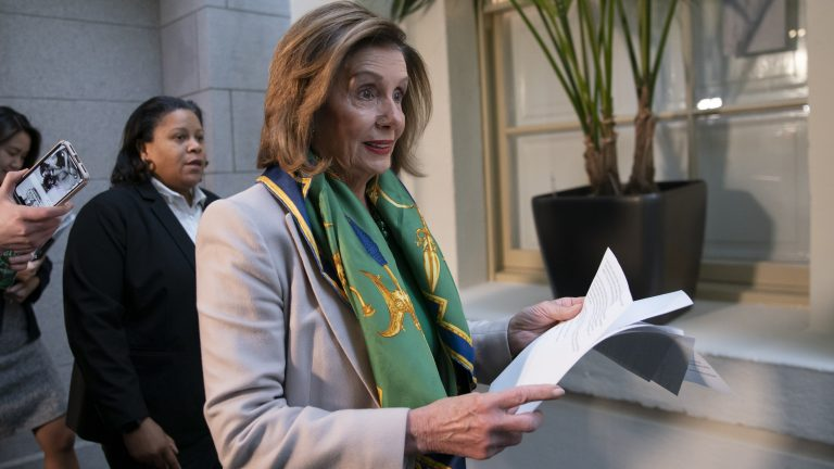 Speaker Nancy Pelosi told Democrats the House will vote to send the articles of impeachment against President Trump to the Senate Wednesday. (J. Scott Applewhite/AP)