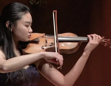 Violinist Angela Sin Ying Chan performs on stage at Curtis.