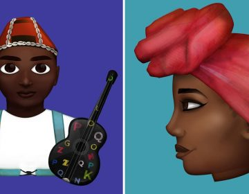 Stickers designed by Grebet depict a local musician (left), and a woman wearing a traditional head scarf. (O'Plerou Grebet)