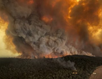 In this aerial photo Monday, Dec. 30, 2019, wildfires rage under plumes of smoke in Bairnsdale, Australia. (Glen Morey via AP, File)