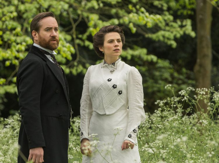 """MASTERPIECE """"Howards End""""  Episode Three Sunday, January 26, 2020; 8:00 - 9:00pm ET Margaret receives an unexpected offer from Henry. Helen is incensed by the unfair fate of the Basts. The three families collide at a wedding, and Henry's past is revealed.  Shown from left to right: Henry Wilcox (Matthew MacFadyen) and Margaret Schlegel (Hayley Atwell)  For editorial use only."""