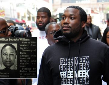 Rapper Meek Mill arrives at the Juanita Kidd Stout Center for Criminal Justice for a hearing. Hundreds of supporters filled the street outside the courthouse.   (Inset: Screenshot from 'Free Meek' documentary on Amazon) (Emma Lee/WHYY)