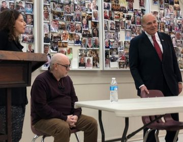 Former PA governor Ed Rendell (right) commits to being a volunteer escort alongside Safehouse leaders Jose Benitez and Ronda Goldfein (MICHAELA WINBERG / BILLY PENN)