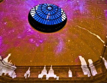Skylines, including that of Moscow's, are part of the new light show in the Ritz-Carlton lobby (Kimberly Paynter/WHYY)