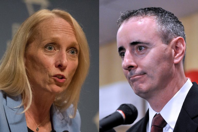 U.S. Rep Mary Gay Scanlon and U.S. Rep Brian Fitzpatrick. (WHYY file photos)