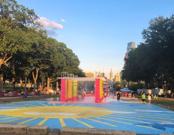 The pop-up Oval installation in front of the Art Museum is set to become permanent. (Danya Henninger/Billy Penn)