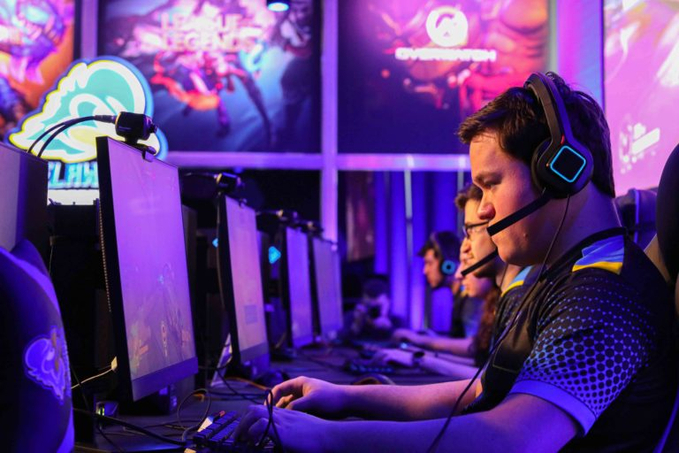 University of Delaware varsity member Kyle Oak practices gaming prior to a ribbon-cutting ceremony to officially open its esports facility at the University of Delaware in Newark. (Saquan Stimpson for WHYY)