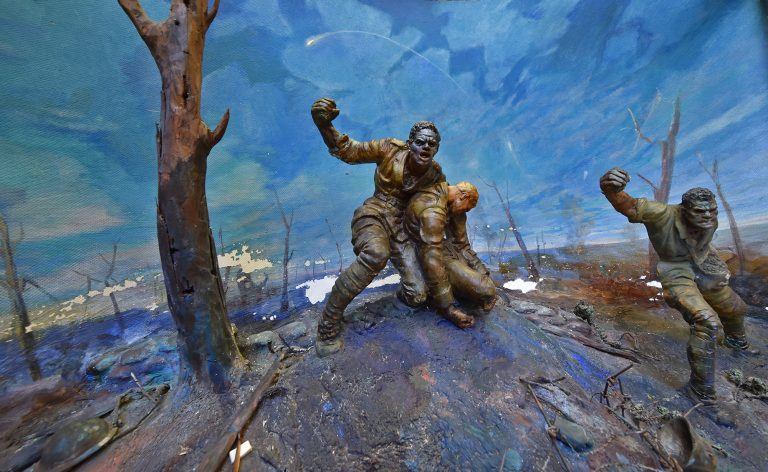 A 1940 diorama of the Harlem Hell Fighters during battle in World War I held at the Winterthur Museum in Winterthur, Delaware.  (Butch Comegys for WHYY)
