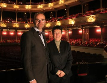 Opera Philadelphia General Director David Devan and Pulitzer Prize winning composer Jennifer Higdon. (Emma Lee/WHYY)