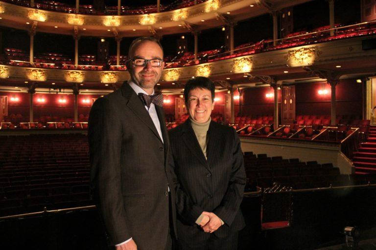 Opera Philadelphia General Director David Devan and Pulitzer Prize winning composer Jennifer Higdon. (Emma Lee/WHYY)