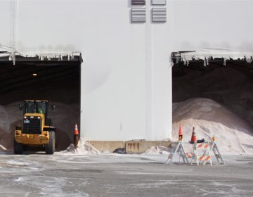 Road salt fills a storage barn in Southwest Philadelphia. (Emma Lee/WHYY)