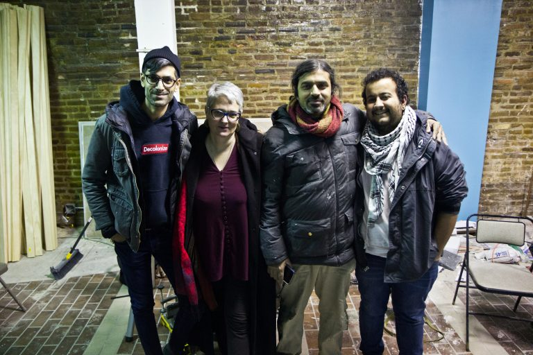 From left, Malav Kanuga, Lucy Duncan, Sy Biswas and Nicki Kattoura are four of five members of the Making Worlds collective. (Kimberly Paynter/WHYY)