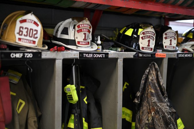 Helmets of volunteer firefighters at the fire house of the Rainbow Hose Co., in Schuylkill Haven, Pa. (Bas Slabbers for Keystone Crossroads)