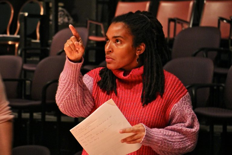 Alexandra Espinoza directs Quintessence Theatre's production of 'Rachel.' (Emma Lee/WHYY)