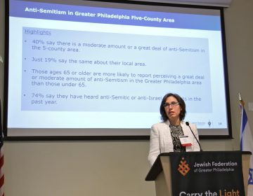Darby Steiger of the research company Westat reviews the results of a sweeping survey of the Philadelphia area's Jewish community. (Emma Lee/WHYY)