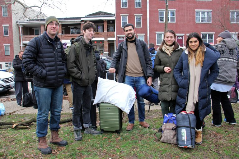 Penn students (from left) Ben Moss-Horwitz, Ethan Kaimana, Jay Vaingankar, Jana Pugsley and Amira Chowdhury, are headed to New Hampshire to spend the weekend canvassing for presidential candidate Bernie Sanders. (Emma Lee/WHYY)
