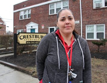 Janella Pascal is moving out of Crestbury Apartments. She has complained about sewage bubbling up in the courtyard near her unit, but 'they don't do anything.' (Emma Lee/WHYY)