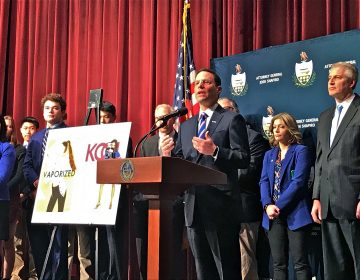 Pennsylvania Attorney General Josh Shapiro announces a major lawsuit against vaping company Juul at Radnor High School in Wayne, Pa. (Laura Benshoff/WHYY)