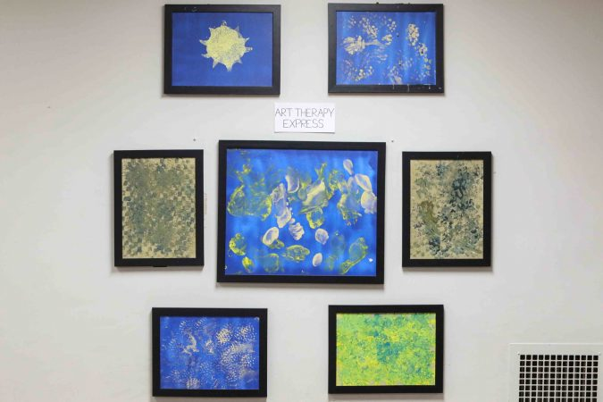 Artwork on display at an art therapy exhibit on Feb. 10, 2020, at The Art Studio in Wilmington, Del. (Saquan Stimpson for WHYY)